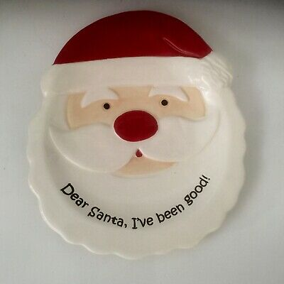 """Mud Pie Dear Santa I Have Been Good 7 3/4"""" Christmas Holiday Cookie Treat Plate"""
