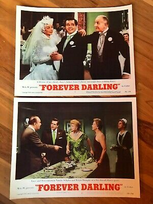 2 Original Lobby Cards 11x14: Forever Darling (1956) Lucille Ball, James Mason