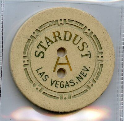 Stardust Casino, Las Vegas, roulette chip, White, HCE mold, table A