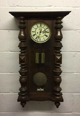 Antique Gustav Becker Double Weight Vienna Chiming Wall Clock Spares Or Repairs