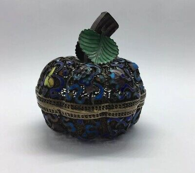 Stunning Antique 19th Century Chinese Qing Silver Gilt And Enamel Fruit Pot