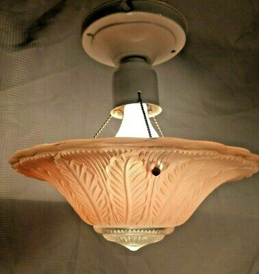 Antique Vintage 1930's Art Deco pink Glass Three 3 Chain Ceiling Light Fixture