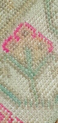 Decorative Antique 1930-1940's Muted Dye Distressed Wool Pile Oushak Area Rug