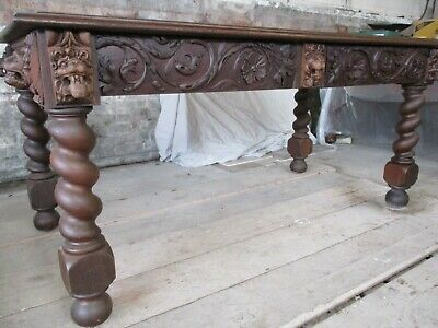Amazing Victorian Carved oak Lion Head Table Draughtsmans / Library Office Desk