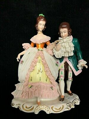 Vintage Dresden Lace Porcelain Figurine Couple Courting Germany