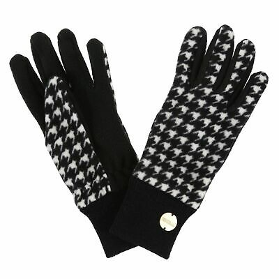 Regatta Garabina Womens Leather Gloves Black Stylish with Soft Knit Fleece Panel