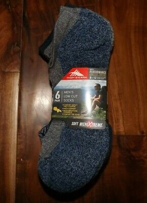HIGH SIERRA Mens Blue Gray 6 Pair Low Cut Performance Socks Shoe Sizes 8-12
