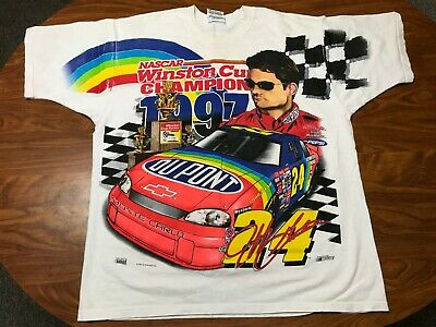 Mens Vintage 90'S 1997 Jeff Gordon All Over Print Nascar Racing Shirt Size Xl