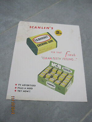 Scanlen's - Tabmint chewing gum 1960s Sales Rep advertising sign / poster