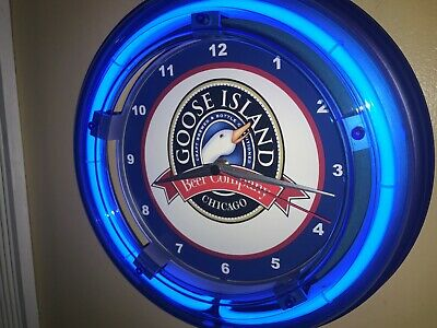 Goose Island Chicago Beer Bar Man Cave Advertising Blue Neon Wall Clock Sign