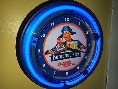 Burgermeister Beer Bar Tavern Man Cave Blue Neon Wall Clock Sign
