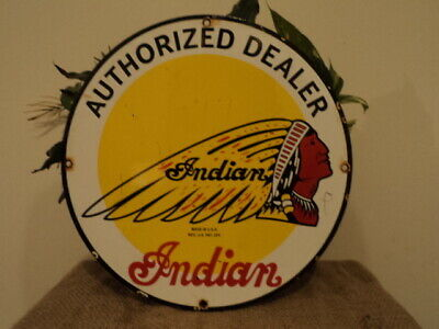 Vintage 1950'S Indian Motorcycles Porcelain Advertising Sign Authorized Dealer