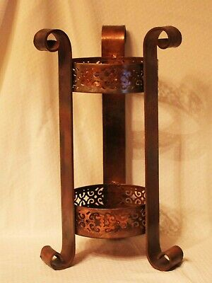 "Vintage Wrought Iron & Metal Umbrella Stand or Table Stand 18 1/2""  Copper Tones"