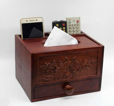12pcs Fine Chinese Classical Huali Wood Carved Multifunctional Tissue Napkin Box