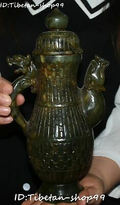 Unique Natural Hetian Jade Hand Carving Dragon Pixiu Beast Wine Tea Pot Flagon