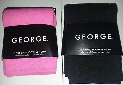 BUY1GET1 George-Girl-Size12-16 Fleece Lined Footless Tights-Pink-Black
