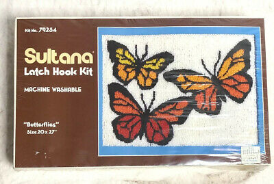 Vintage SULTANA Butterflies Latch Hook Kit Rug Wall Hanging NEW Crafts