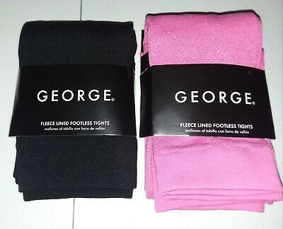 BUY1GET1 George-Girl-Size12-16 Fleece Lined Footless Tights-Black-Pink Sparkle