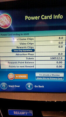 Dave and Busters Power Card With 100,512 Redemption tickets and 8 Game Chips