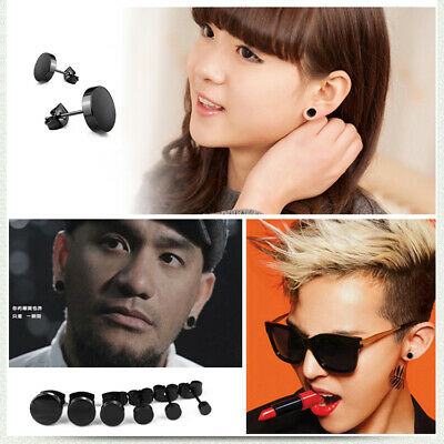 1PC Men Women Round 316 Surgical Titanium Steel round disk Ear Studs Earrings