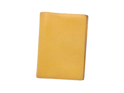 Auth HERMES Square F (2002) Note/Agenda Cover Yellow Leather *WORN-OUT* - e42970
