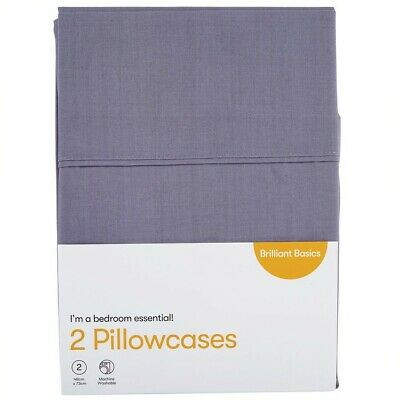 Brilliant Basics Pillowcase 2 Pack - Grey