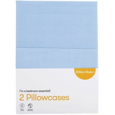 Brilliant Basics Pillowcase 2 Pack - Blue