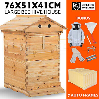 Wooden Beekeeping Beehive Brood House Box +7 Auto Honey Frames+Beekeeping Jacket