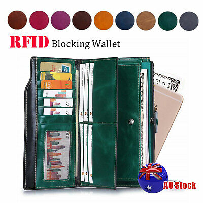 Men Ladies RFID Blocking Wallet Clutch Purse Leather Coin Card ID Phone Holder