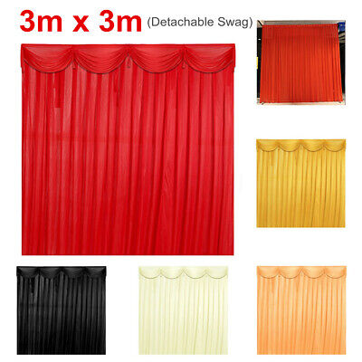 3X3M Wedding Backdrop Photography Background Removable Curtain Drape Swag AU
