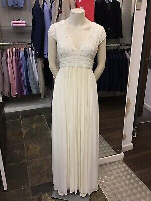 Womens French Connection White Embellished Wedding Dress Size 10 EX-DISPLAY