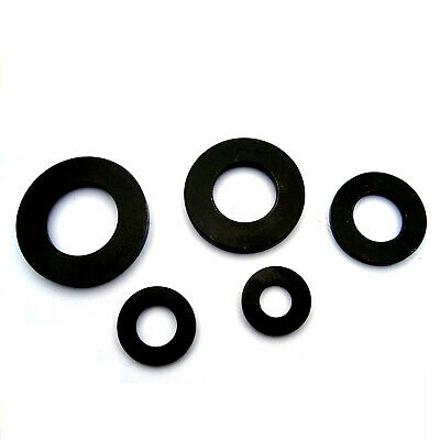 Black Rubber Pad Flat Washer O Ring Seal Gaskets Buffer Stop Bumpons Non-slip