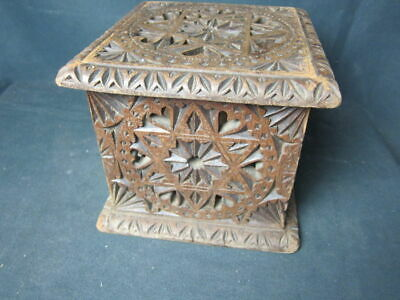 Antique 19th century richly carved walnut Carriage Foot Warmer