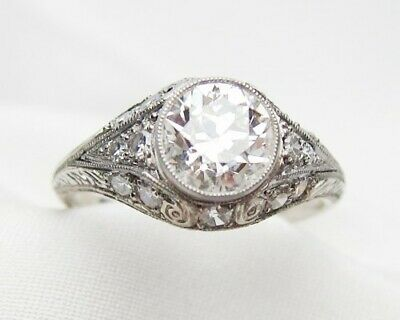 Vintage Art Deco Engagement Wedding Ring Antique 2Ct Diamond 925 Sterling Silver