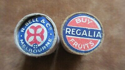 Circa 1930's 2 Used Vintage Round Matchboxes R. Bell & Co. Matches Mel W/ Advert