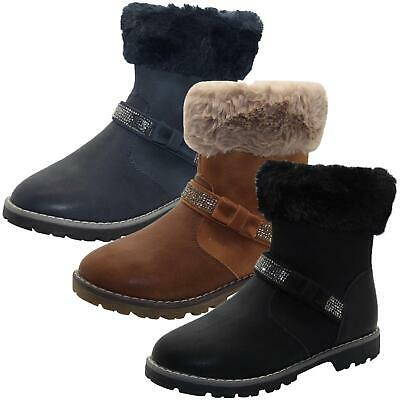 Boys Ankle Boots Faux Fur Trim Style Gypsy Girls Block Heel Kids Causal Shoes UK