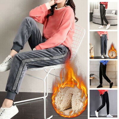 Women Slim Fleece Lined Pants Thick Thermal High Waist Stretch Casual Trousers