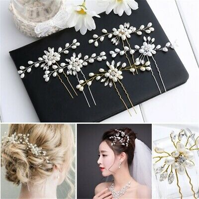 Women Wedding Bridal Pearl Flower Crystal Hair Pins Bridesmaid Clip Side Comb-WI