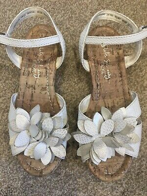 Next Girls Wedge Heel White Sandals Shoes Size 13