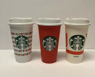 Starbucks Xmas Reusable Cups Merry Coffee, Joy & Red Cup Holidays Set Of 3 NEW