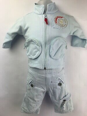Timberland Baby Boys Blue 3 Piece Trouser /Top / Coat Outfit Set Age 1 Month