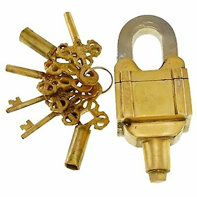 Square Trick Padlock Handmade Solid Brass Puzzle Lock & 6 Keys(3 x 2) Door Decor