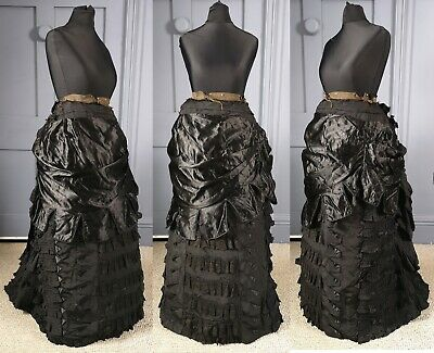 Elaborate 1870s / 1880s Natural Form Mourning Bustle Skirt - Victorian Antique