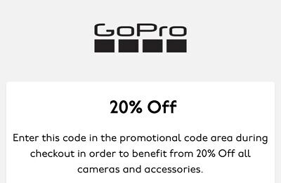 Gopro Coupon Code 20% Off SITEWIDE Exp 3/31/20 SENT FAST go pro camera