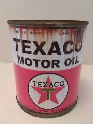 Rusty Texaco Motor Oil Can 1 qt. -  ( Reproduction Tin Collectible )