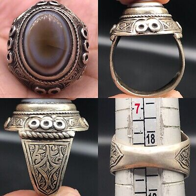 Lovely Old Unique Agate Eye Stone Wonderful Silver Ring