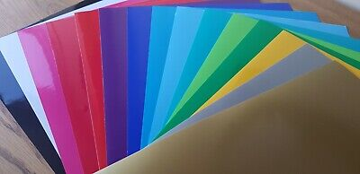 10x A4 Sheets Of Self Adhesive Craft Vinyl MIxed Colour 1 Free Silver and Gold