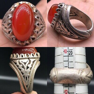 Silver Wonderful Ring With Old Stunning Roman Agate RING