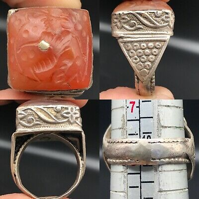 Lovely Roman King Agate stone intaglio Solid Silver beautiful Old Ring