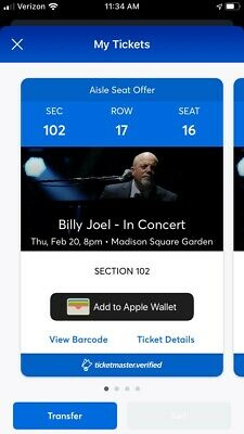 2 (or 4) Tickets to Billy Joel -Premium View MSG NYC 2-20-20 Lower Level Center